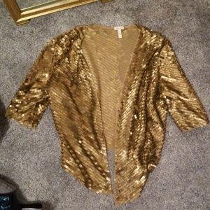 Anthropologie flounce gold sequin cardigan